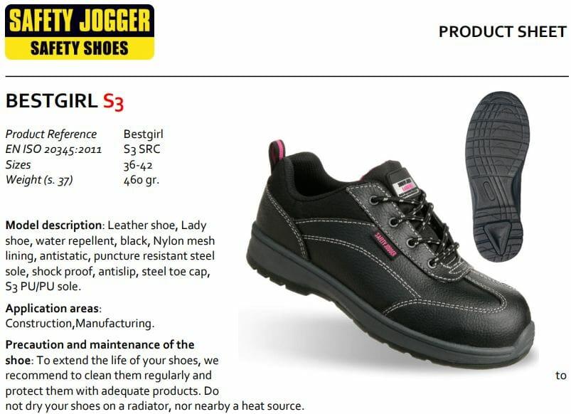 Giày bảo hộ Jogger Bestgirl S3 | giấy chứng nhận