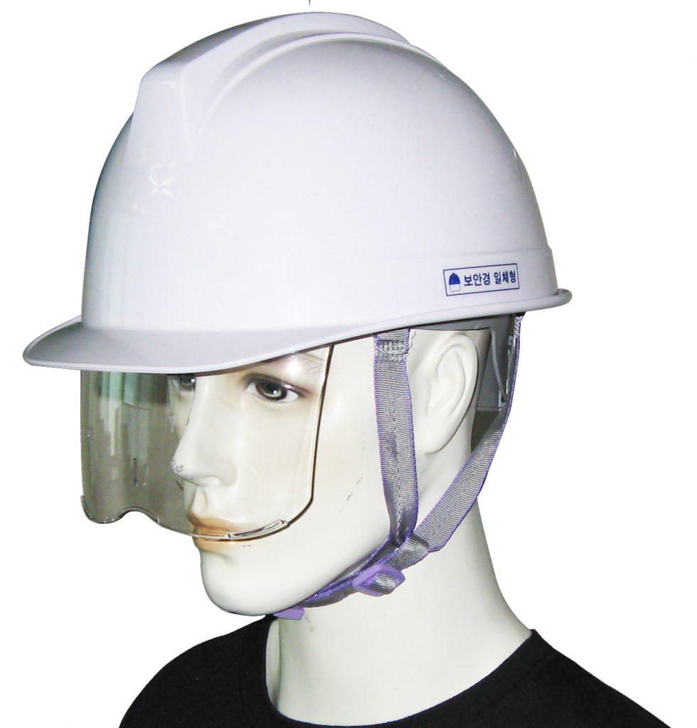Mũ bảo hộ Hàn Quốc Kukje màu trắng có kính 01