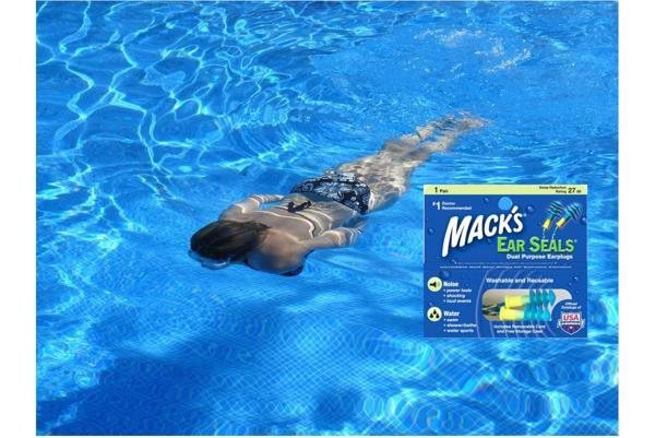 Bịt tai bơi Mack's Mỹ có dây đeo cổ