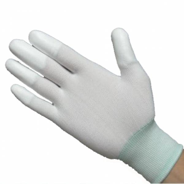 Găng tay phòng sạch ngón phủ PU màu trắng